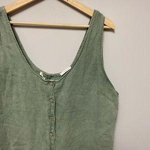 Green linen jumpsuit